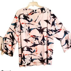 Beautiful abstract women's plus size  polyester bl